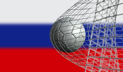 Soccer ball scores a goal in a net against Russia flag. 3D Rendering