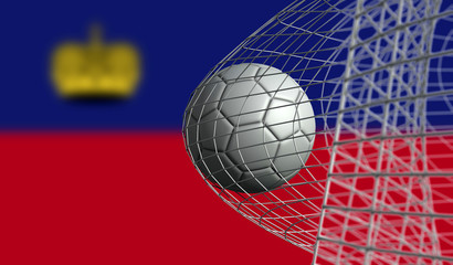 Soccer ball scores a goal in a net against Liechtenstein flag. 3D Rendering
