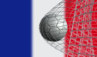 Soccer ball scores a goal in a net against France flag. 3D Rendering