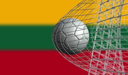 Soccer ball scores a goal in a net against Lithuania flag. 3D Rendering