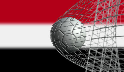 Soccer ball scores a goal in a net against Yemen flag. 3D Rendering