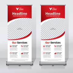 Roll up sale banner design template, abstract background, pull up design, modern x-banner, rectangle size.