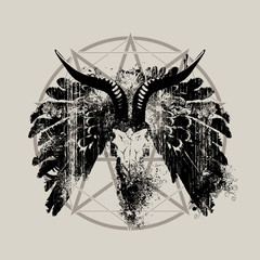 Vector illustration with skull of goat, wings and pentagram with splashes and curls in grunge style