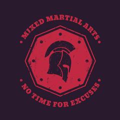 MMA, mixed martial arts vintage emblem, logo, print with spartan helmet on red octagon shape