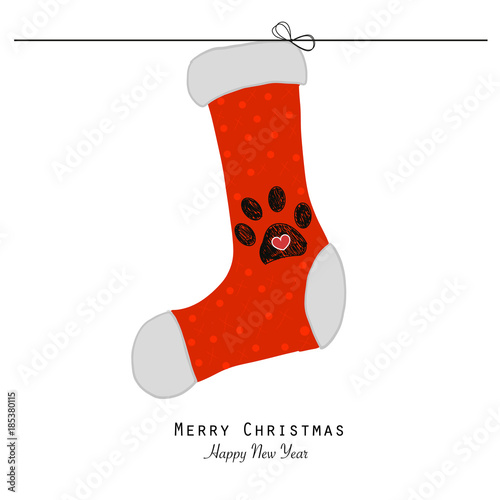 31586129bb4b Christmas socks with paw print. Merry Christmas and happy new year card