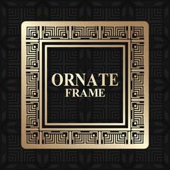 Vintage golden frame with retro ornamental pattern. Luxury background. Vector illustration
