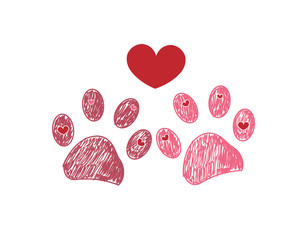 Dog paw print. Valentine's day greeting card with hearts and paw print.