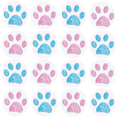 Blue Pink colored doodle paw print white background