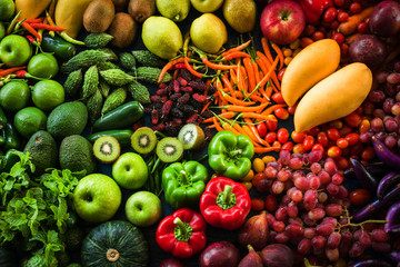 Foto op Plexiglas Groenten Different fresh fruits and vegetables organic for eating healthy and dieting