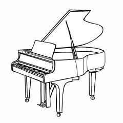 realistic instrument cartoon illustration drawing piano