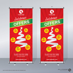 Roll up banner merry Christmas template design