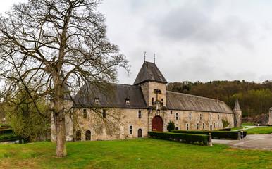 Classic medieval castle Spontin in Belgium panoramic view