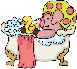 Cute pig taking a bath with shower duck