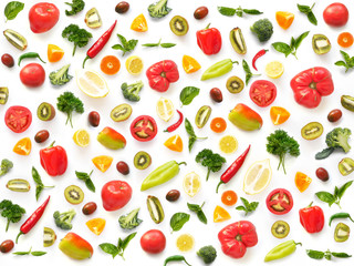 Fototapete - The concept of healthy eating. Pattern composition from vegetables and fruits, top view. Food background, wallpaper. Tomatoes, pepper, lemon, kiwi, basil, parsley isolated on white background.