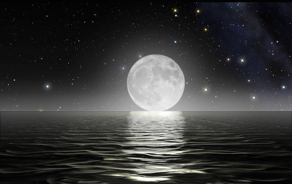 Moon rising over the ocean with starry sky in the background