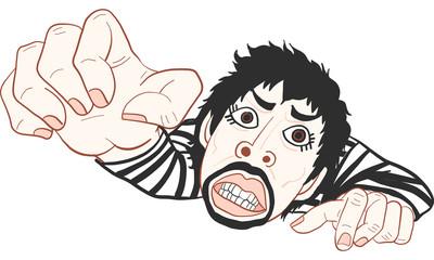 man in black strip t-shirt action vector, cartoon,