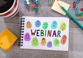 Webinar concept on a notepad