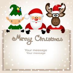 Christmas card. Funny postcard with Christmas Elf, Christmas moose and Santa.