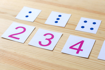 Cards with numbers and dots. The study of numbers and mathematics