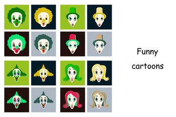 assembly of flat icons on theme funny clowns