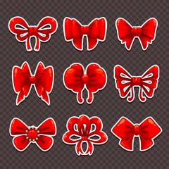 Beautiful cartoon red bows set