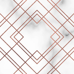 Marble Texture Vector Background with rose gold lines