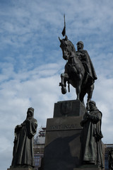 Equestrian statue of King Wenceslas in Wenceslas Square in Prague, Czech Republic.  Statue of King Wenceslas, popular king of Bohemia.