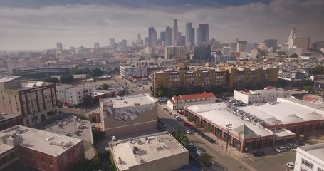 Fotobehang - Aerial view of Arts district with downtown Los Angeles skyline in background