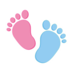 Baby footprint pink and blue. Vector stock.