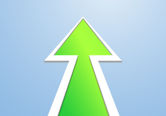 Christmas tree in the form of a green arrow on a blue background