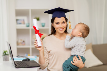 mother student with baby boy and diploma at home