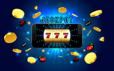 jackpot lucky wins สล็อตแมชชีนทองคาสิโนบนโทรศัพท์มือถือที่มีแสงพื้นหลัง