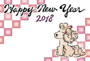 年賀状2018 犬 手描き 和洋折衷