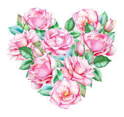 Beautiful heart with watercolor hand drawn pink roses and leaves isolated on white background. Useful for romantic design of greeting card, wedding invitations, Valentine's day postcards.