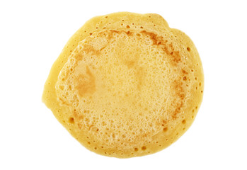 Tasty pancake isolated on white background, top view