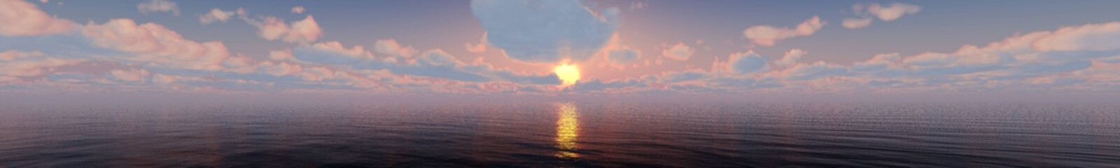 sea sunset. panorama of the sea landscape during sunset with clouds in the sky.