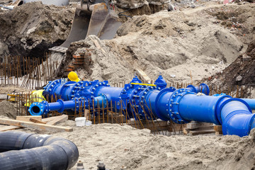 Workers laid water system pipeline at construction site