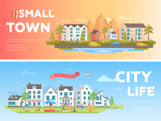 Town and city - set of modern flat vector illustrations