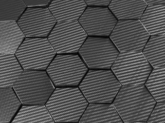Carbon fiber hexagon abstract background 3D Illustration