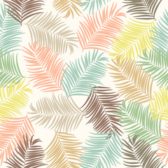 Tropical palm leaves vector seamless pattern