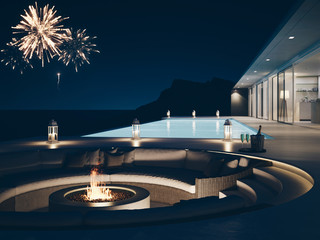 3d rendering of pool villa with fireworks and champagne. new years eve