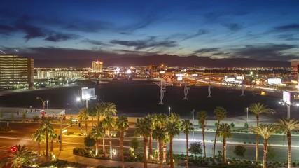 Fotobehang - Las Vegas Strip traffic city cityscape background changing dusk night Timelapse