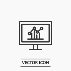 Outline monitor in analytics icon illustration vector symbol