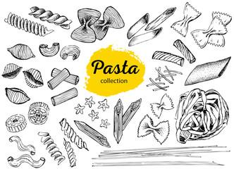 Pasta hand drawn. Italian Pasta frame.
