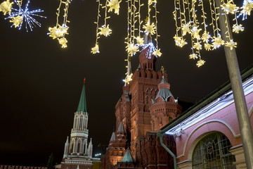 Towers of Moscow Kremlin and Christmas decoration