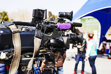 TV operators install video cameras for shooting
