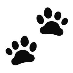 Dog paw print set. Paw icon.
