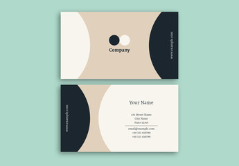 Business Card Layout with Modern Circular Elements