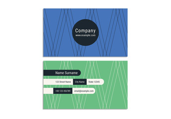 Business Card Layout with Thin Line Zig-Zag Design Elements