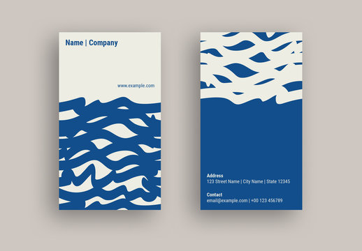 Business Card Layout with Wavy Line Design Elements